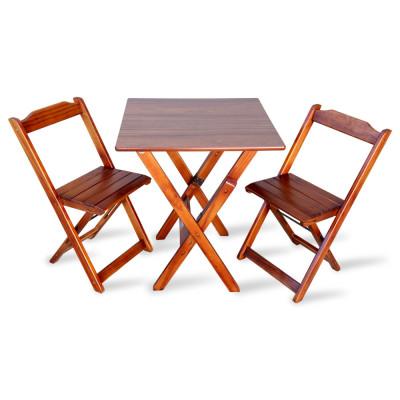 Jogo De Mesa Com 2 Cadeiras Dobravel 70x70 Para Bar E Restaurante - Imbuia
