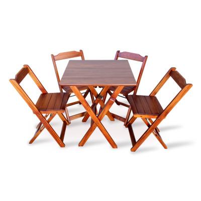 Jogo De Mesa Com 4 Cadeiras Dobravel 60x60 Para Bar E Restaurante - Imbuia