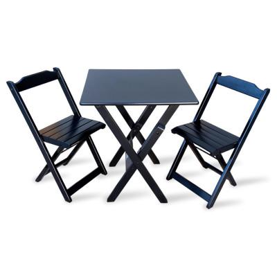 Jogo De Mesa Com 2 Cadeiras Dobravel 70x70 Para Area Gourmet - Preto