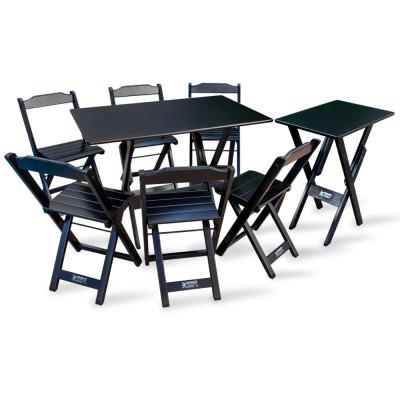 Conjunto De Mesa 1,10x70 E Mesa Aparador Dobrável Com 6 Cadeiras Tarimatã - Preto