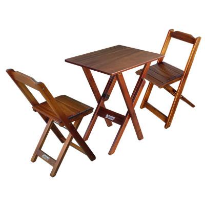 Jogo De Mesa Compacta 68x43 Cm Com 2 Cadeiras Para Apartamento - Imbuia