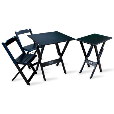 Jogo De Mesa Dobrável 70x70 Com 2 Cadeiras E Mesa Aparador Tarimatã Para Area Gourmet - Preto
