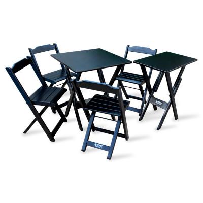 Conjunto De Mesa Dobrável 60x60 Com 4 Cadeiras Mais Mesa Aparador Tarimatã - Preto