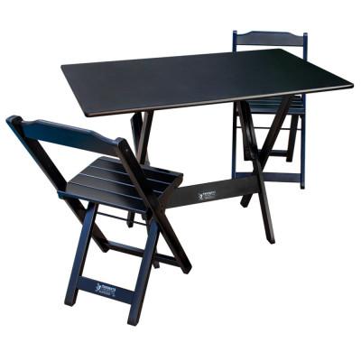 Conjunto Com Jogo De Mesa Dobrável 70x110 Com 2 Cadeiras Preto - Tarimatã