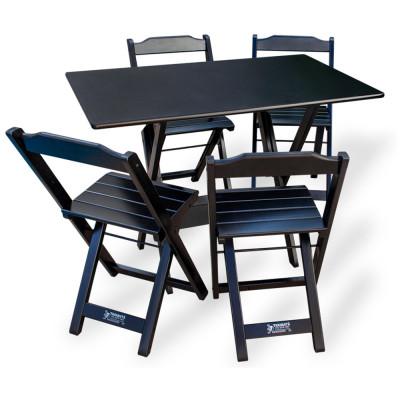 Conjunto De Mesa Dobrável 70x110 Com 4 Cadeiras Preto - Tarimatã