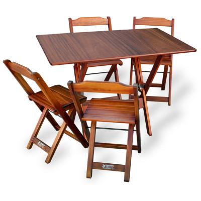 Conjunto De Mesa Dobrável 70x110 Com 4 Cadeiras Imbuia - Tarimatã