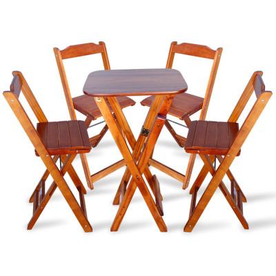 Conjunto De Mesa Bistro Dobravel Com 4 Cadeiras Para Area De Lazer - Imbuia