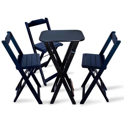 Conjunto De Bistro Com 3 Cadeiras Dobravel Para Area Gourmet - Preto
