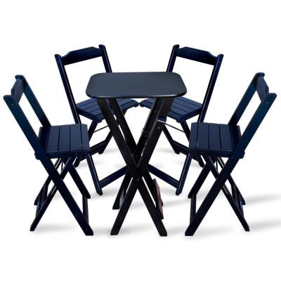 Conjunto De Mesa Bistro Dobravel Com 4 Cadeiras Para Bar E Restaurante - Preto