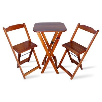 Conjunto De Mesa Bistro Dobravel Com 2 Cadeiras - Imbuia