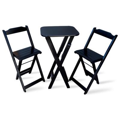 Conjunto De Mesa Bistro Dobravel Com 2 Cadeiras Para Bar E Restaurante - Preto