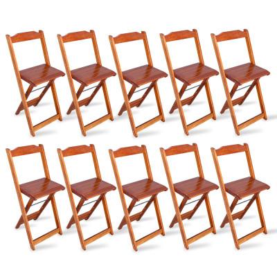 Kit 10 Cadeiras Bistrô Dobrável Madeira Padrão Imbuia