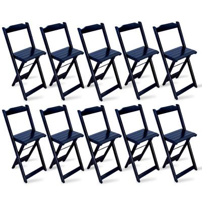 Kit 10 Cadeiras Bistrô Dobrável Madeira Preta - Tarimatã