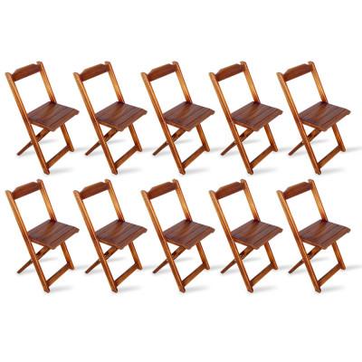 Kit 10 Cadeiras Dobrável Madeira Padrão Imbuia - Tarimatã