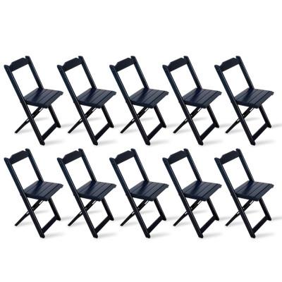 Kit 10 Cadeiras Dobrável Madeira Preta - Tarimatã
