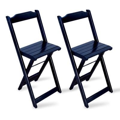 Kit 2 Cadeiras Bistrô Dobrável Madeira Preta - Tarimatã