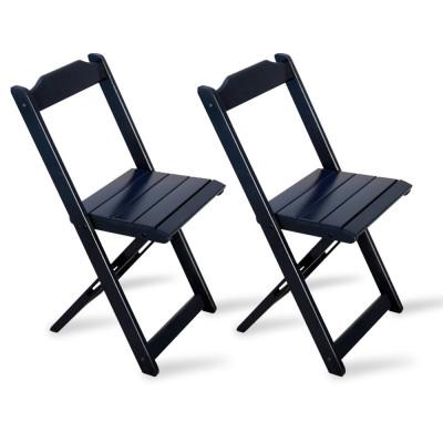 Kit 2 Cadeiras Dobrável Madeira Preta - Tarimatã