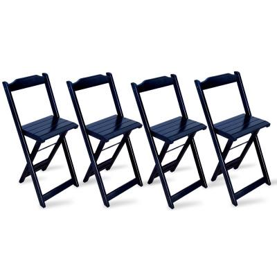 Kit 4 Cadeiras Bistrô Dobrável Madeira Preta - Tarimatã