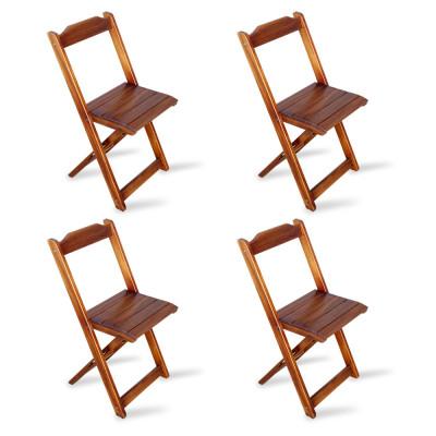 Kit 4 Cadeiras Dobrável Madeira Padrão Imbuia