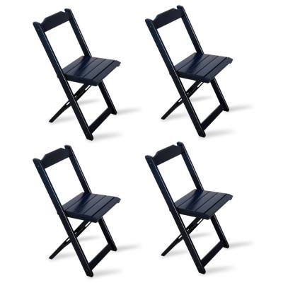 Kit 4 Cadeiras Dobrável Madeira Preta - Tarimatã
