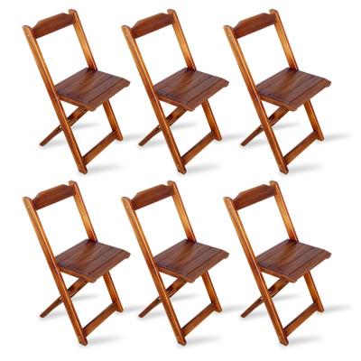 Kit 6 Cadeiras Dobrável Madeira Padrão Imbuia