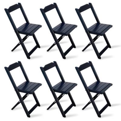Kit 6 Cadeiras Dobrável Madeira Preta - Tarimatã