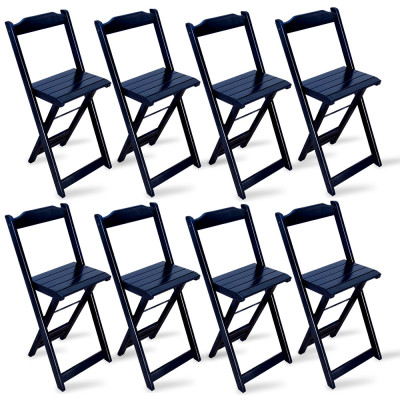 Kit 8 Cadeiras Bistrô Dobrável Madeira Preta - Tarimatã