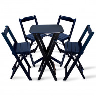 Conjunto De Mesa Bistro Dobravel Com 4 Cadeiras Para Bar E Restaurante - Preto(100)