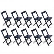 Kit 10 Cadeiras Dobrável Madeira Preta - Tarimatã(100)