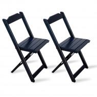 Kit 2 Cadeiras Dobrável Madeira Preta - Tarimatã(100)