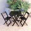 Conjunto De Mesa Dobrável 60x60 Com 4 Cadeiras Preto - Tarimatã